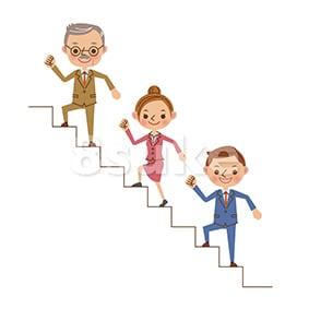 イラスト素材:階段を登る3人のビジネスマン(ベクター・JPG)
