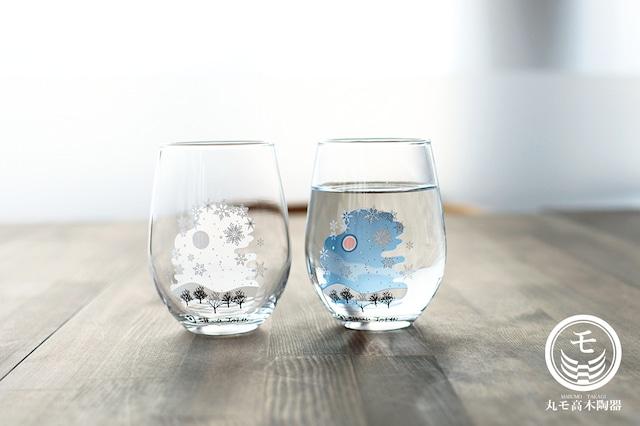 【cy-05s】『冷感雪結晶』『フリーグラスペアセット』 * 雪結晶 フリーグラスペアセット 贈り物 温度 変化 日本酒 乾杯 グラス シャンパングラス タンブラー フリーグラス ギフト プレゼント お祝い 冬