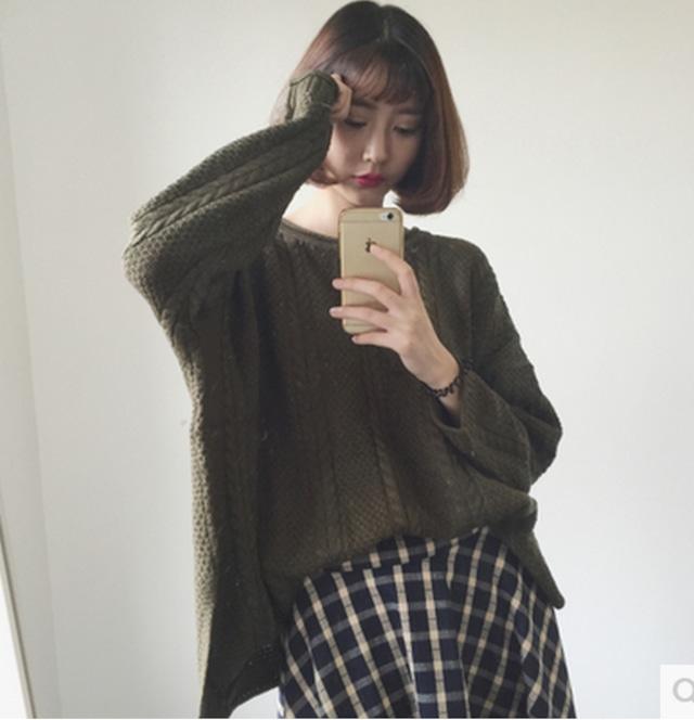 【手編み風 ゆるっとニット丸首セーター】通勤 通学 OL カジュアル 送料無料 韓国風