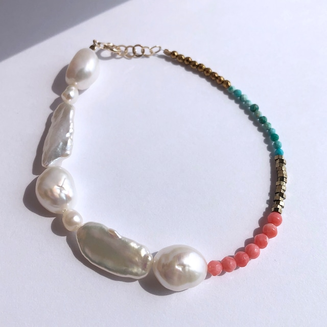 K10YG Mix Baroque Pearl x Coral x Pyrite x Turquoise Bracelet / チャリティージュエリー