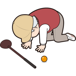 挫折する男性パークゴルファー