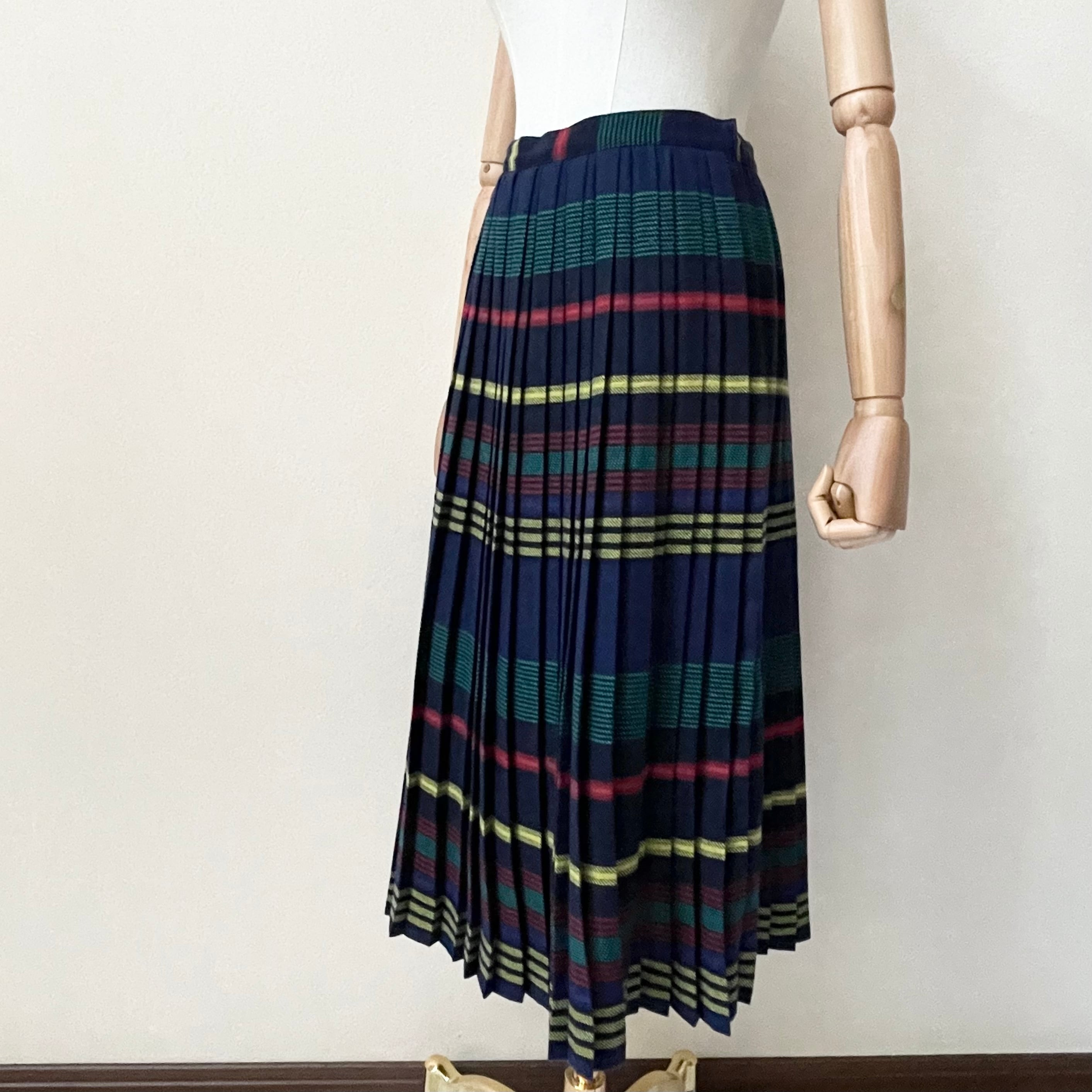 80年代 CHAUS マルチカラー プリーツスカート アメリカ古着