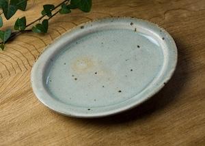 灰釉粉引 オーバル中皿/くるり窯