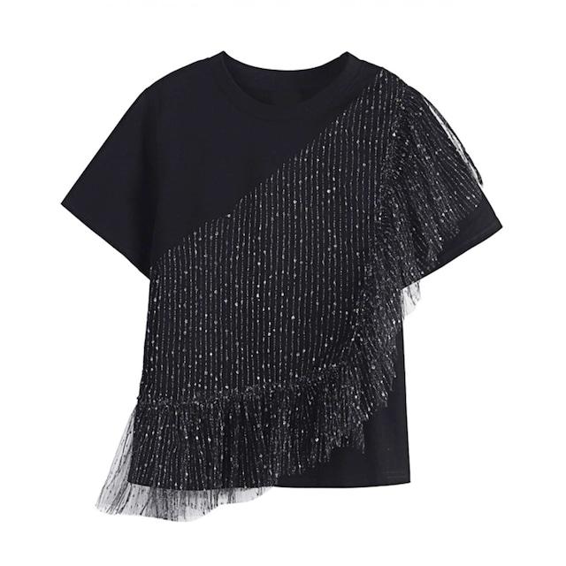 メッシュステッチブラックTシャツ B210436