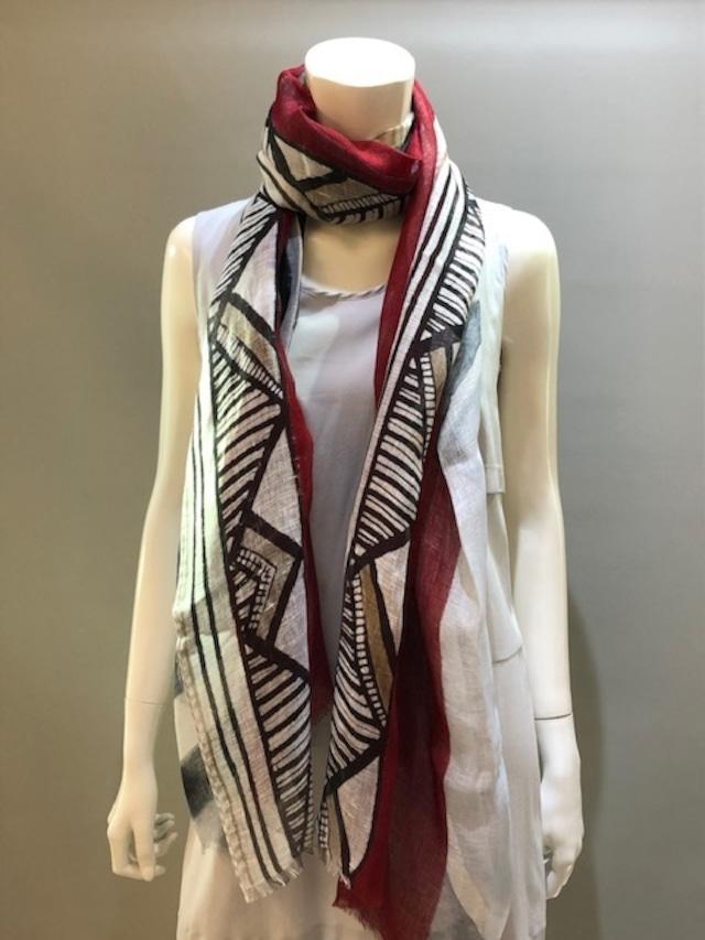 LARIOSETA(ラリオセタ)K969/10534 Col.4 麻(リネン)100% イタリア製 プリントスカーフ