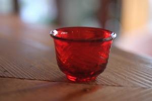 【倉敷ガラス・小谷栄次】◆◆◆ぐい呑み◆◆◆赤◆◆