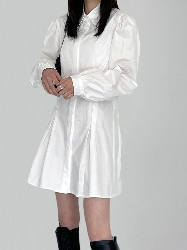 【WOMENS - 1 Size】PUFFSLEEVE SHIRT ONEPIECE / 2colors