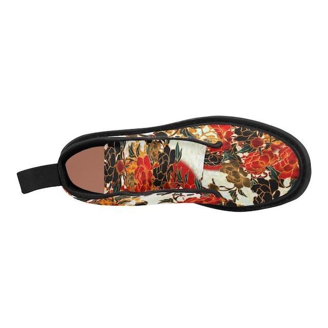 牡丹家紋紅白 メンズ&レディース キャンバスブーツ