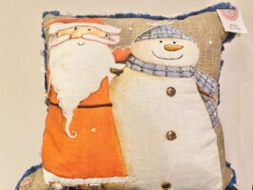 ⭐かわいいサンタと雪だるまのクッション♪ サンタクロース 雪だるま クッション インテリア クリスマス クリスマスアート
