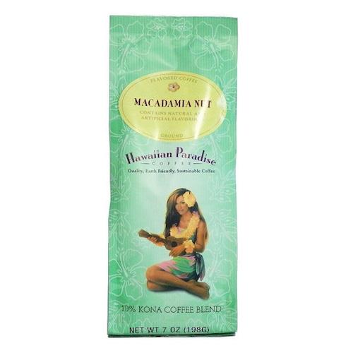 マカダミアナッツ(挽き済みの粉) ハワイアンパラダイス(7oz 198g) ハワイコナコーヒー フレーバーコーヒー