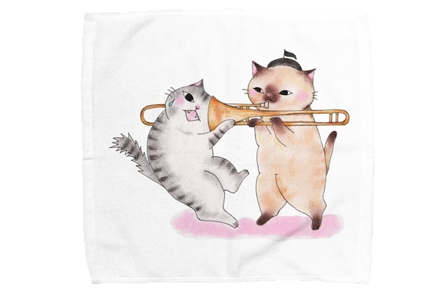 【即日出荷用】トロンボーン猫のミニタオル(吸引)