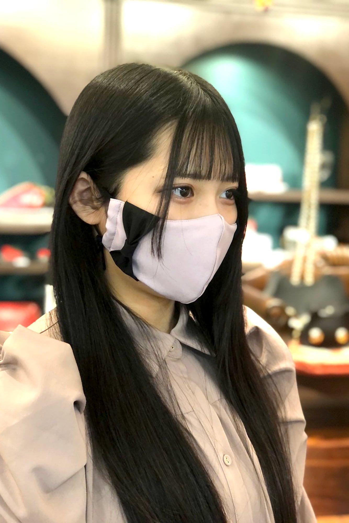 【セール】横顔美人!立体リボンマスク/ダスティピンク+ブラックリボン