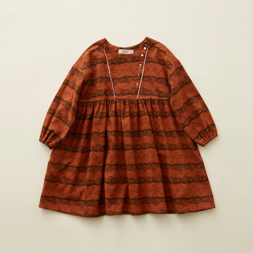 《eLfinFolk 2020AW》castle printed dress / brick red / 90-100cm