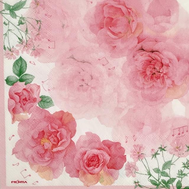 【FRONTIA】バラ売り1枚 ランチサイズ ペーパーナプキン ピンクのバラ ピンク