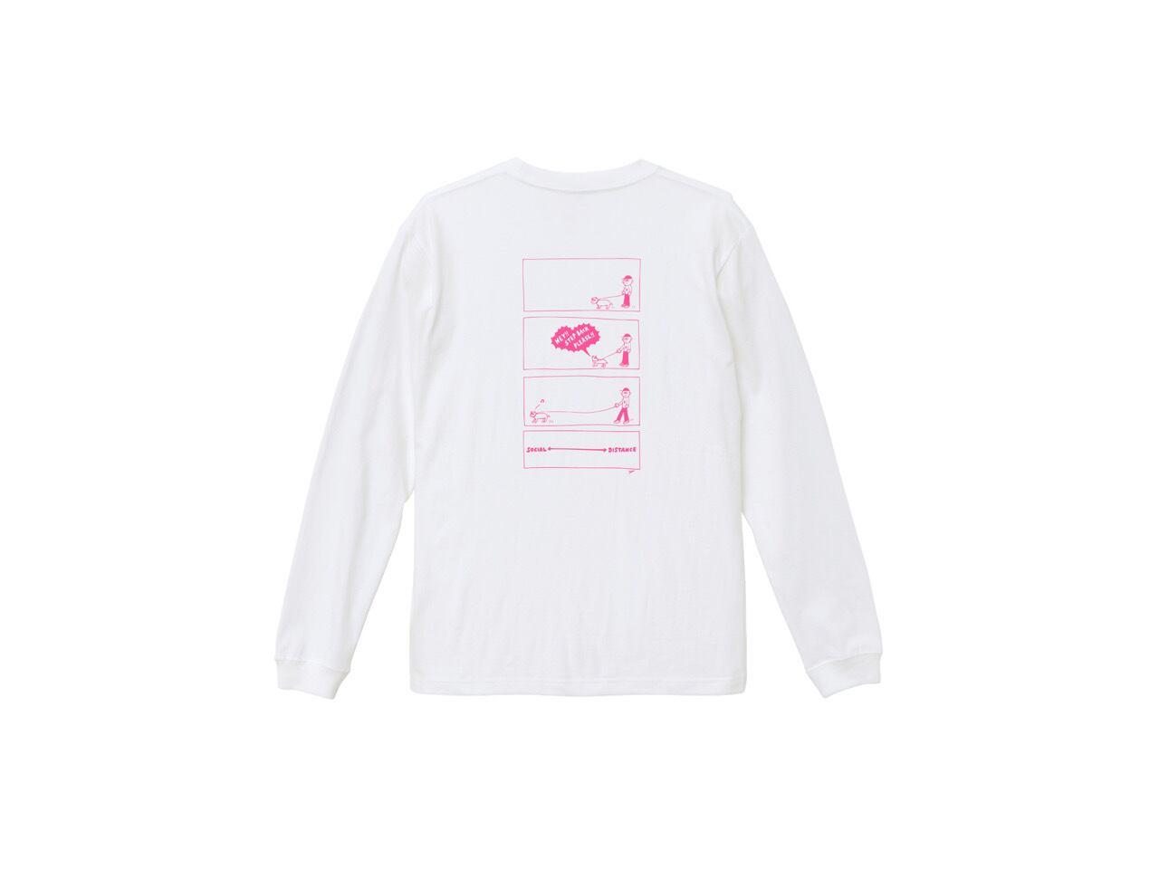 SHI × coguchi Dog SD long T-shirt (WH/PK)
