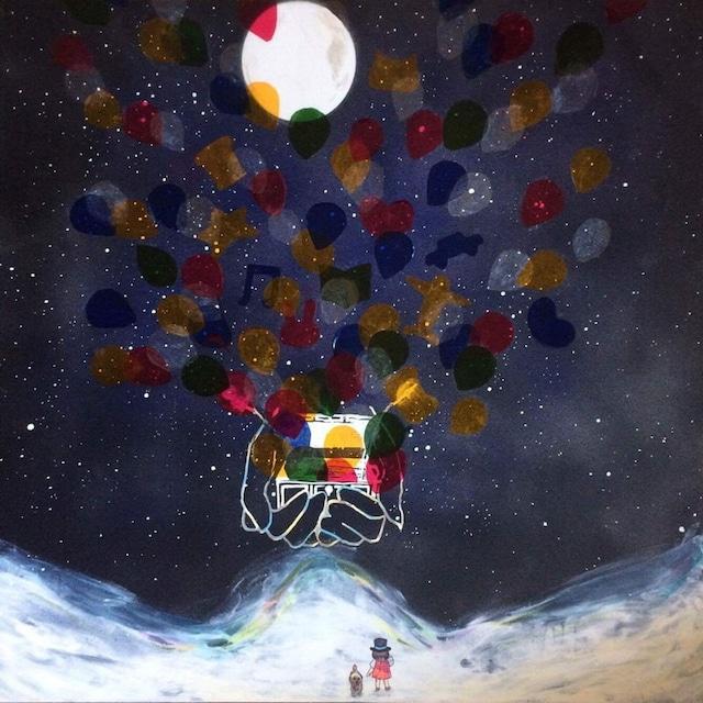 絵画 絵 ピクチャー 縁起画 モダン シェアハウス アートパネル アート art 14cm×14cm 一人暮らし 送料無料 インテリア 雑貨 壁掛け 置物 おしゃれ 水彩画 イラスト 満月 夜 夢  ロココロ 画家 : ゆりんぐ 作品 : 満月の夜に君の夢の話を聞かせて