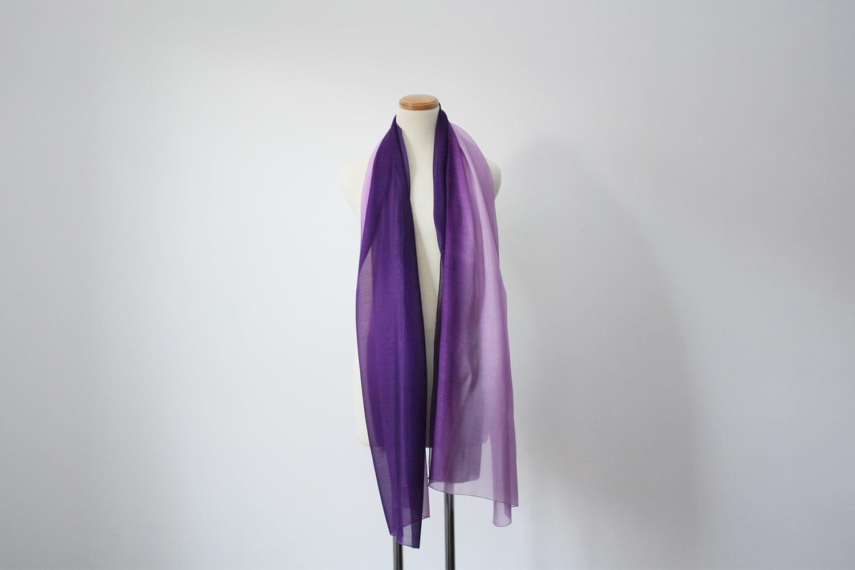 【オーダーメード】絹ショール 紫×薄紫