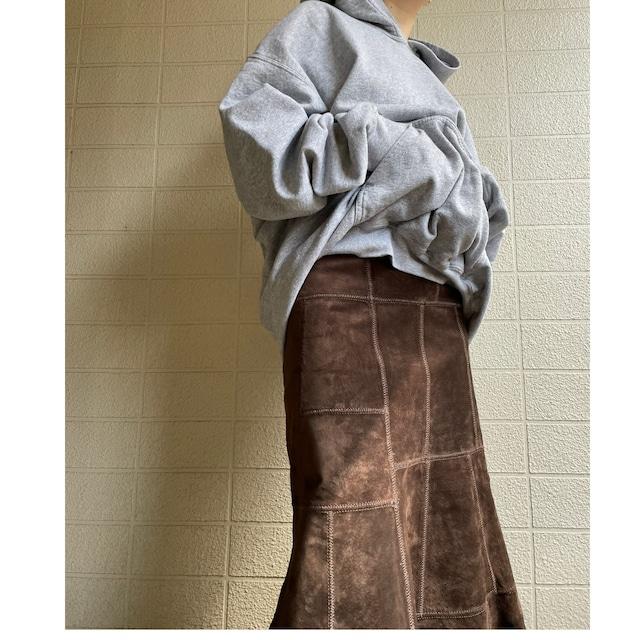 Long suede dk brwn skirt