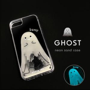 ゴースト ネオンサンドケース[iPhone12対応]☆暗闇で光る☆ かわいいおばけ