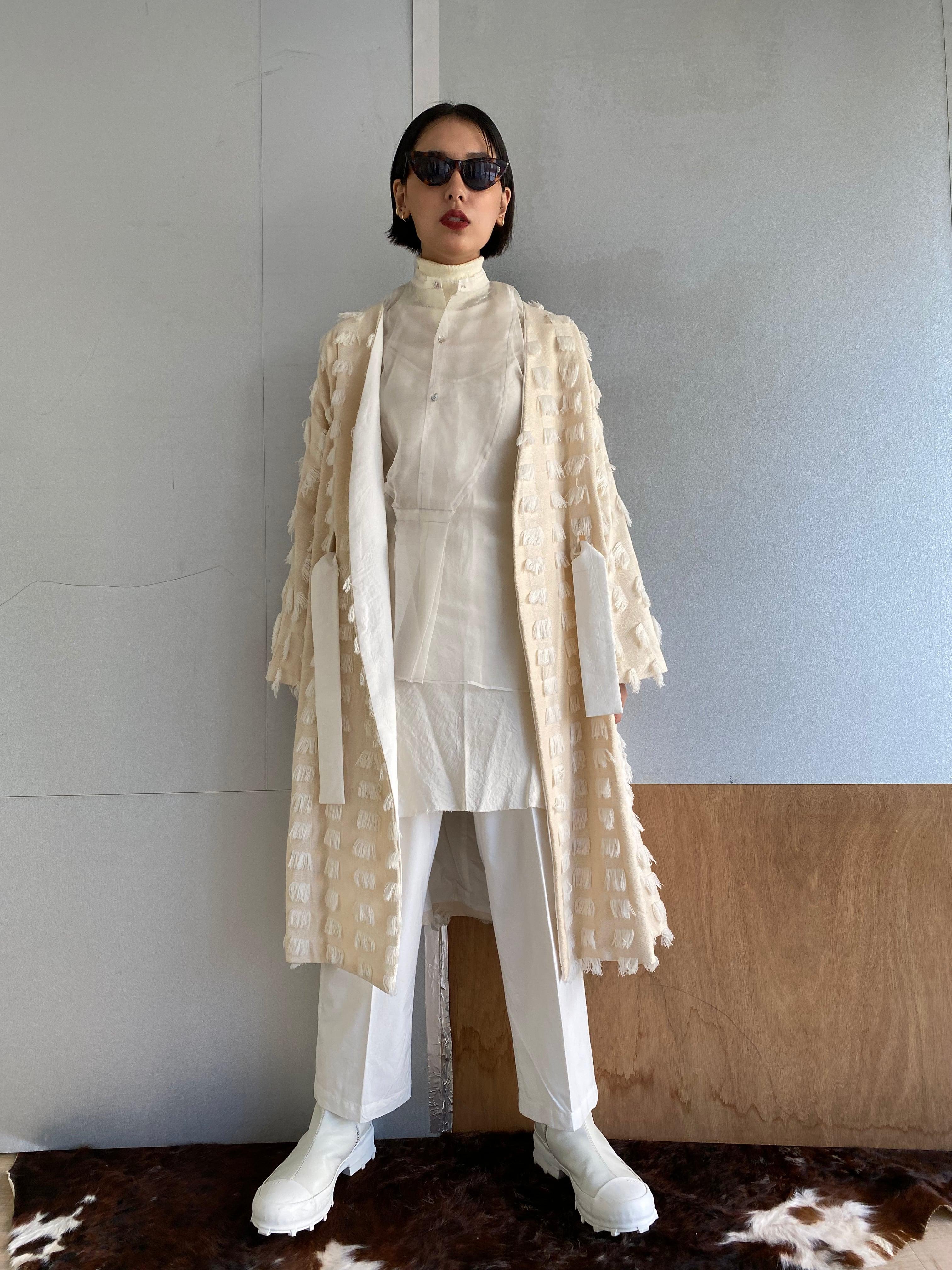 "Gown coat ""off white"" cotton fringe"