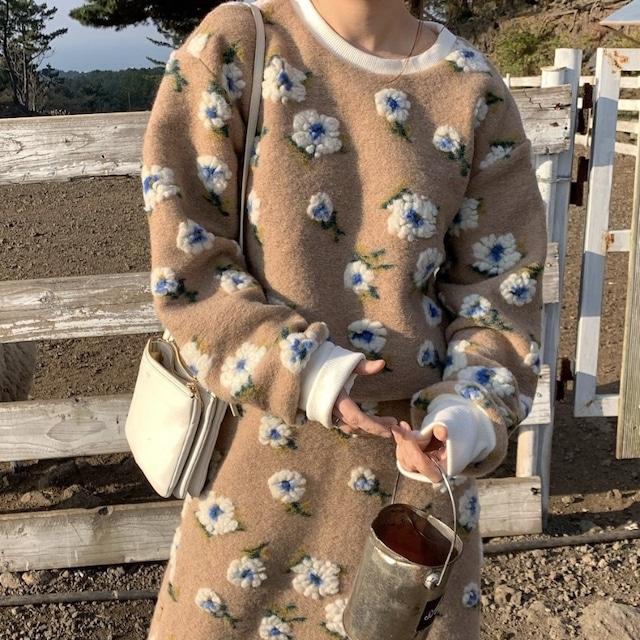 【セット】「単品注文」レトロ長袖ラウンドネックプルオーバー花模様セーター+スカート52947021