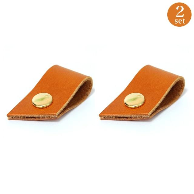 高級牛革と国産の真鍮金具を使用したコードホルダー2個セット(キャメル)