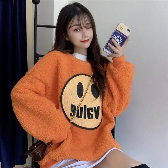 【トップス】キュート図柄かわいい韓国系ラウンドネック長袖ふわふわパーカー52677241