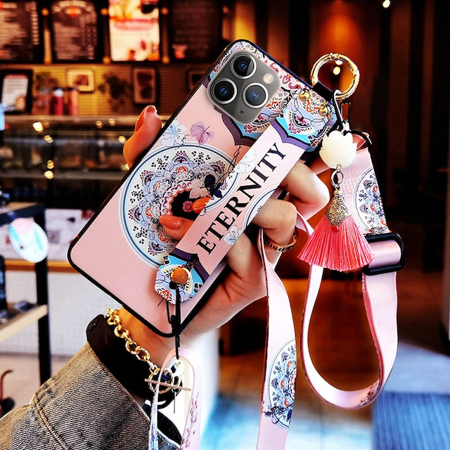 【YOUPINシリーズ】★チャイナ風携帯ケース★2color選択可能 iPhone 12 12mini 12Pro 12ProMax フリンジ ピンク 青