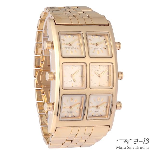 [世界限定100本]【MS-13】腕時計 6TIME ZONE シックスタイムゾーン (カラー:ゴールド×ゴールド)