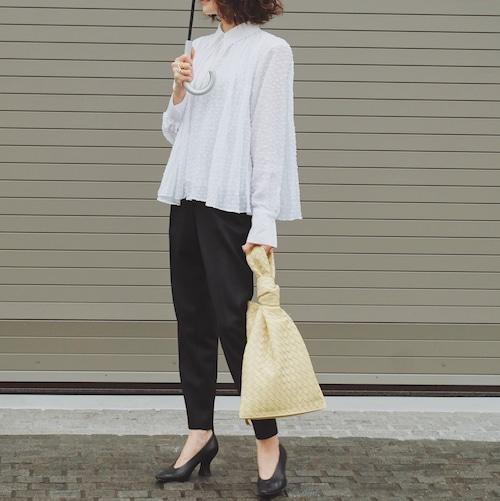 KU-UM×chika ドットジャガードシャツ ホワイト