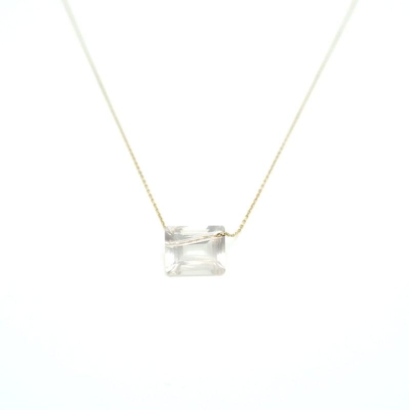 Holey stone Necklace RoseQuartz - K18YG