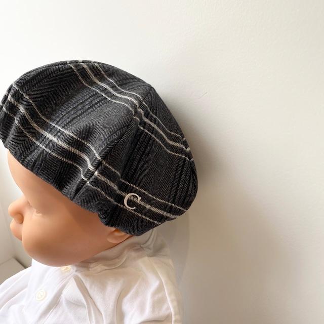 【ベビー用】チェックベレー帽 / ホワイト / FREEサイズ