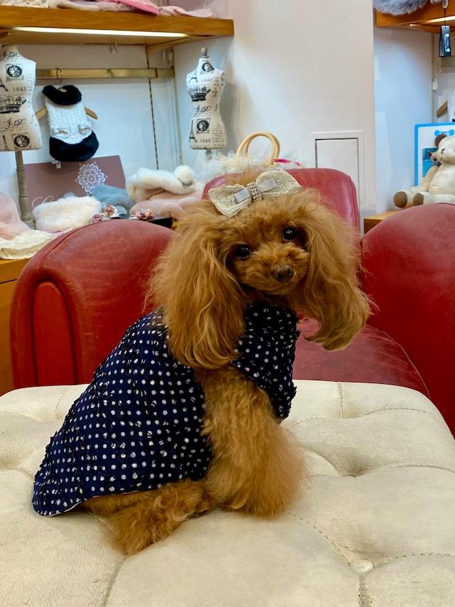 【即納】犬の生活 キルティングベスト ドットチュールフリル×シルバーサテン リバーシブル