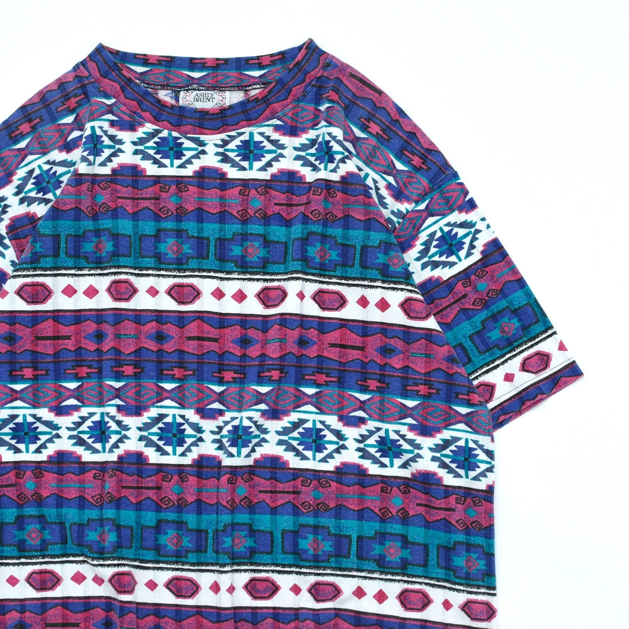80〜90's ASHLY BRENT native pattern T-shirt