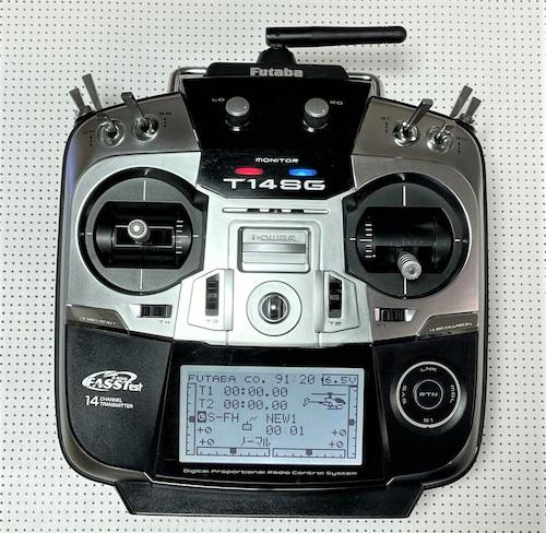 14SGプロポ中古+OMP M2 V2 BNFセット◆バッテリー純正1個&Futaba受信機S-FHSS&各種パーツ付◆3Dフライト中のミス操作時のレスキュー機能付き