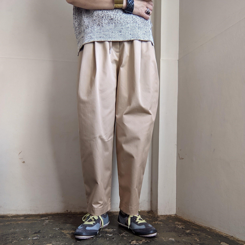 【 OTOÄA 】オトア /COTTON GABARDINE WIDE TAPERED PANTS/テーパードパンツ/2020AW/ivory/COTTON