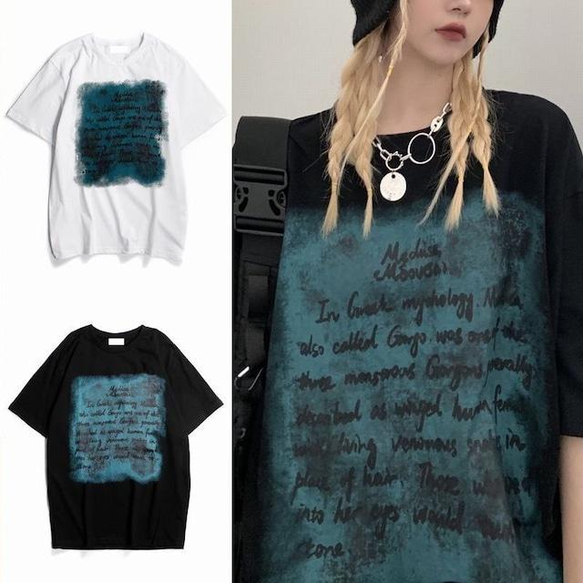 ユニセックス Tシャツ 半袖 レタープリント 英字 ラウンドネック オーバーサイズ トップス 大きめ カジュアル ストリートファッション TBN-640058576164