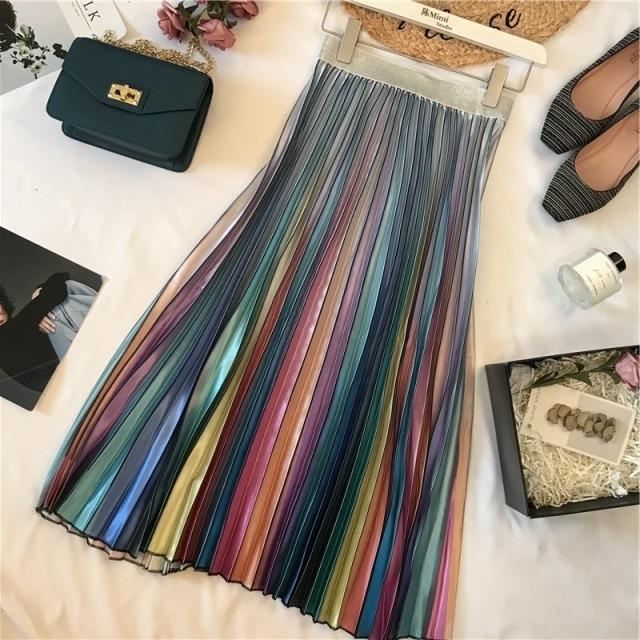 レトロでモダンなレインボーグラデーションサテン調スカート 【200605】