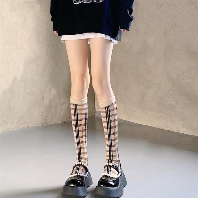 oriental check socks