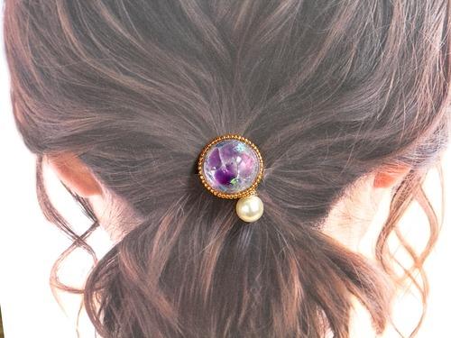 【石のきもち】アメジスト+ホログラム Goldビーズヘアゴム 天然石 原石 パワーストーン