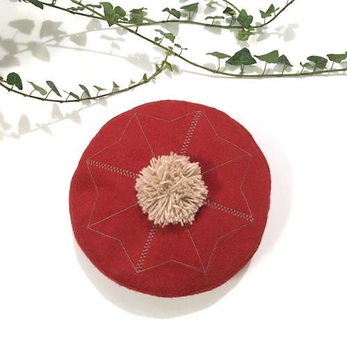 刺繍ポンポンベレー帽 レッド