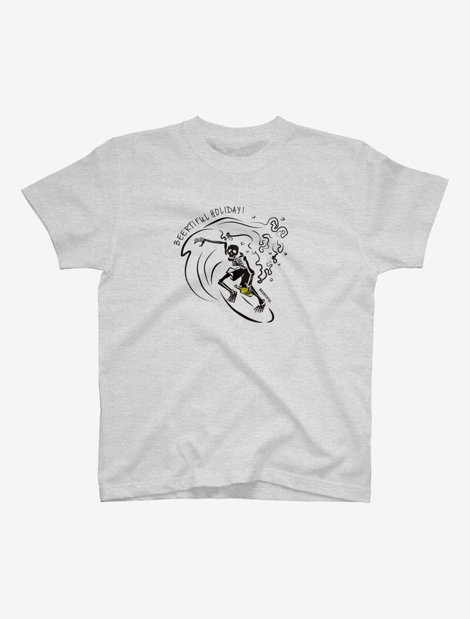 【サーフィンガイコツ】Tシャツ(アッシュ)