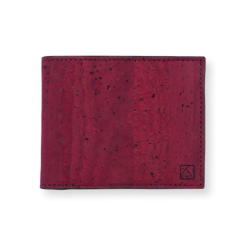 VEGAN  SLIMFOLD WALLET  MAROON / 二つ折り財布 マルーン&ブラック コルク製