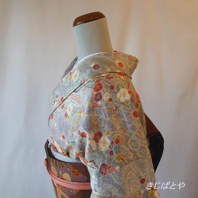 正絹紬 辛子色に相良刺繍のなごや
