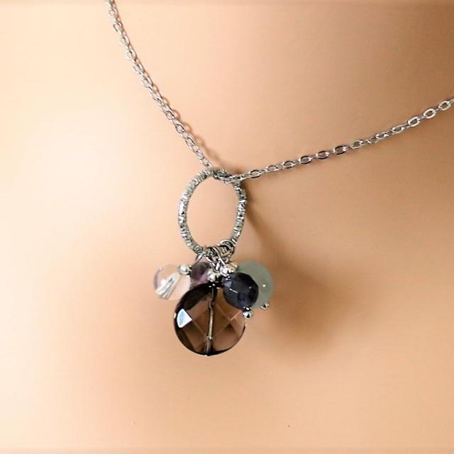 天然石mixネックレス スモーキークォーツ ジェイド フローライト 水晶 アイオライト (silver925チェーン変更可能)