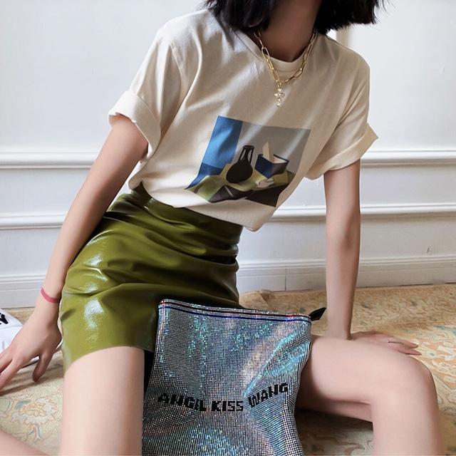 アートプリントTシャツ | プリント 個性的 大きめ シンプル 夏服 韓国服