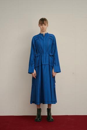 PIN TUCK SHIRT DRESS / BLUE