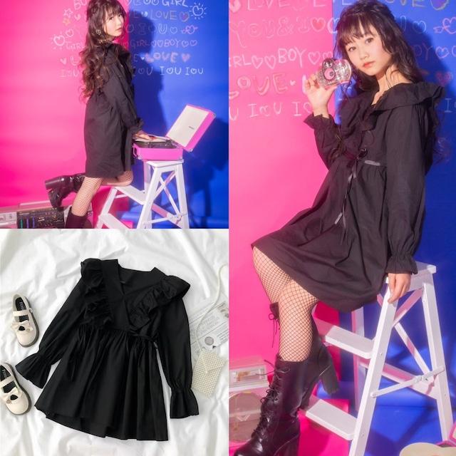 120~170cm ★ ワンピース ドレス フリル シンプルデザイン バルーンスリーブ