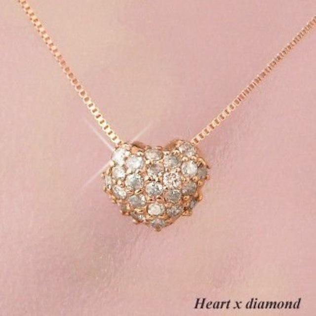 ダイヤモンド ネックレス パヴェ ハート 18金ピンクゴールド レディース 天然ダイヤモンド