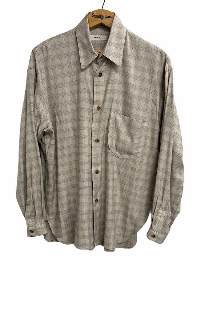 MATSUFUJI / Flannel Check Utility Oversize Shirt(BEIGE)
